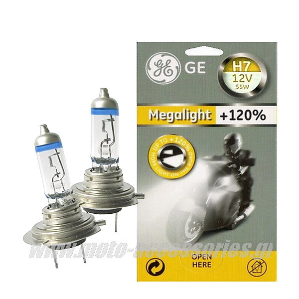 SET ΛΑΜΠΕΣ GENERAL ELECTRIC H7 MEGALIGHT +120%
